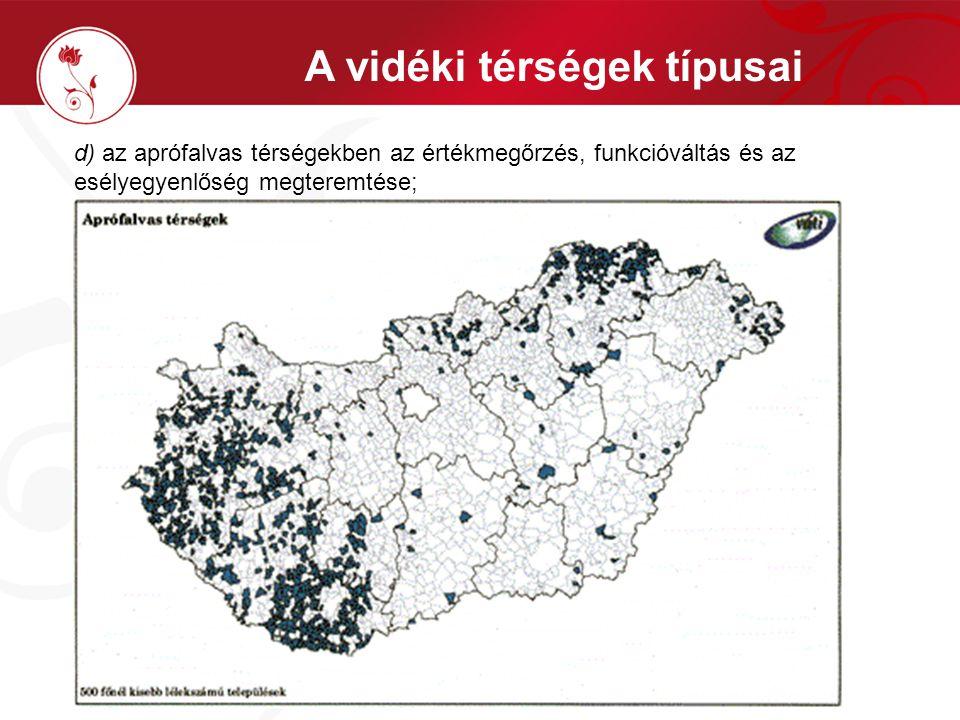 c) a Duna-Tisza-közi Homokhátság teljes területén a népesség helyben tartása, a természet degradációs folyamatainak megállítása a helyi adottságokhoz illeszkedő mezőgazdasági termelés biztonságának vízgazdálkodási, tározási, infrastrukturális intézkedésekkel történő megőrzésével, a ritkán lakott agrártérségek, gazdaságok fejlesztésével, a szükséges agrárszerkezet-váltással, valamint a hátság kedvezőtlen vízgazdálkodásának helyreállításával; A vidéki térségek típusai