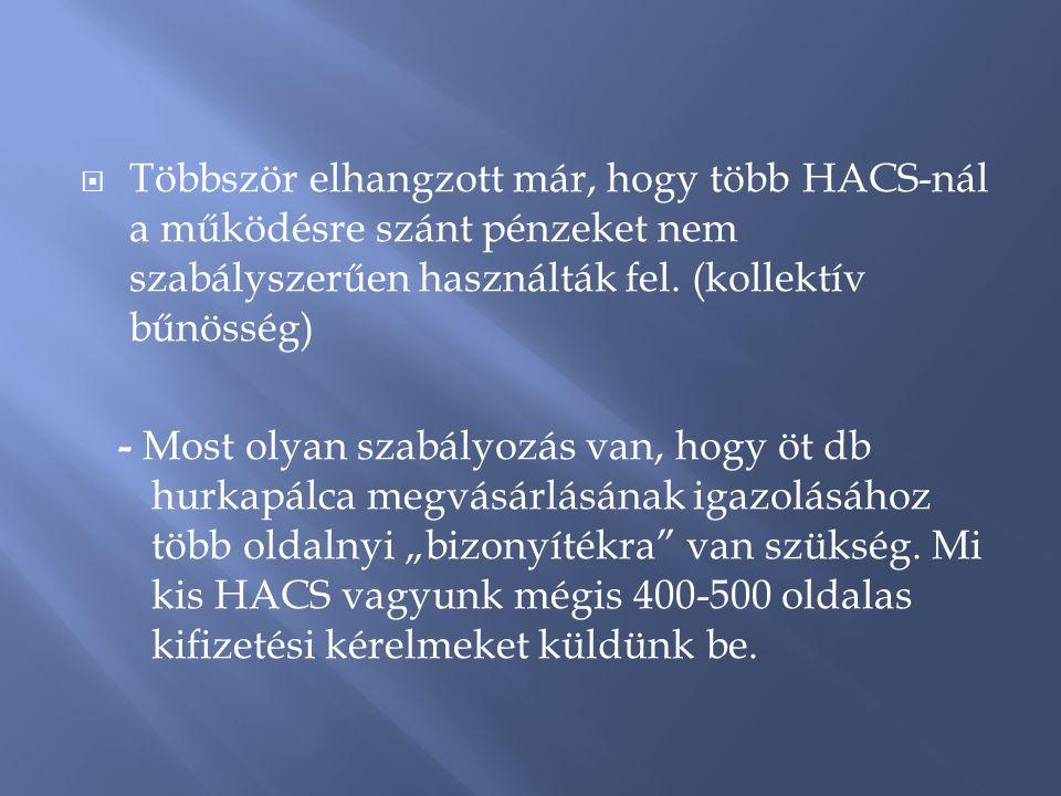  Többször elhangzott már, hogy több HACS-nál a működésre szánt pénzeket nem szabályszerűen használták fel.