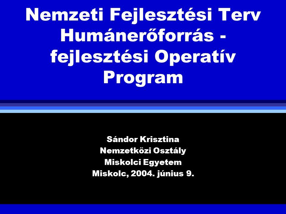 Nemzeti Fejlesztési Terv Humánerőforrás - fejlesztési Operatív Program Sándor Krisztina Nemzetközi Osztály Miskolci Egyetem Miskolc, 2004. június 9.