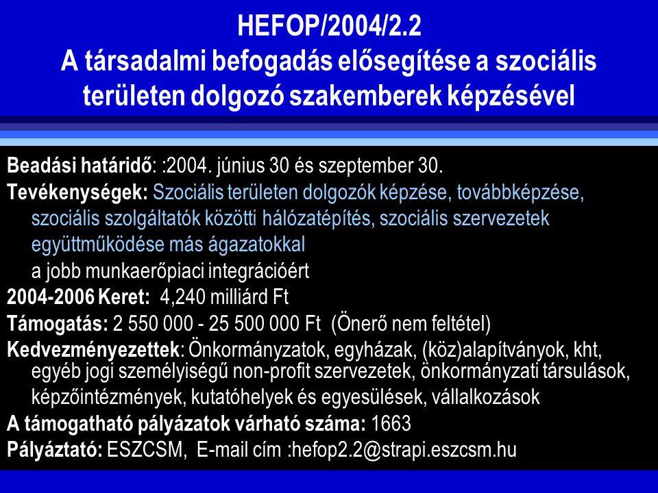 HEFOP/2004/2.2 A társadalmi befogadás elősegítése a szociális területen dolgozó szakemberek képzésével Beadási határidő : :2004. június 30 és szeptemb