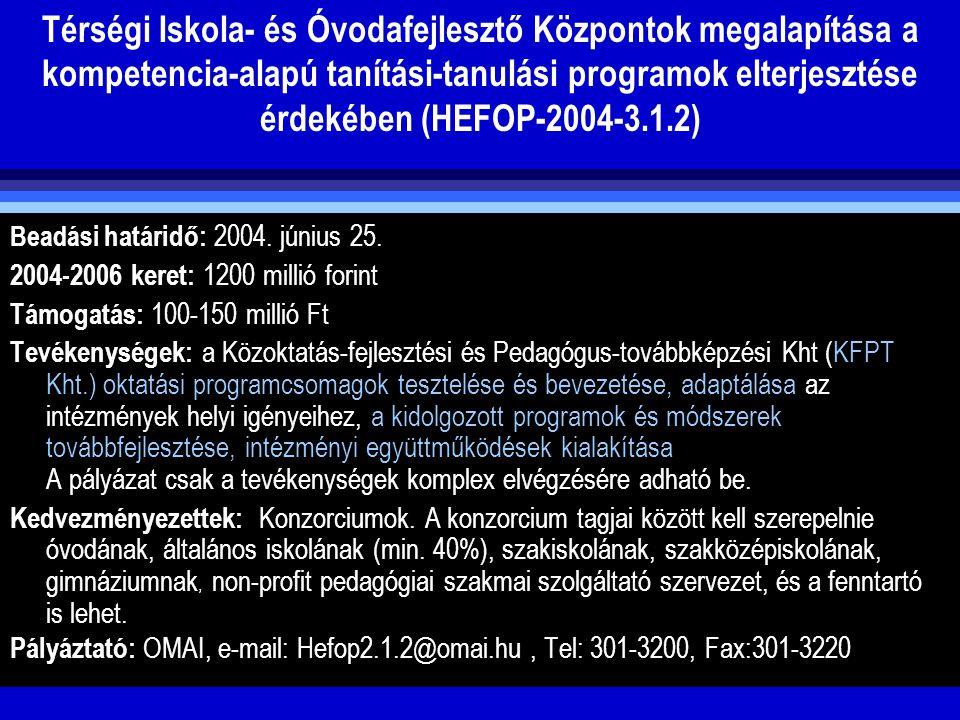 Térségi Iskola- és Óvodafejlesztő Központok megalapítása a kompetencia-alapú tanítási-tanulási programok elterjesztése érdekében (HEFOP-2004-3.1.2) Be