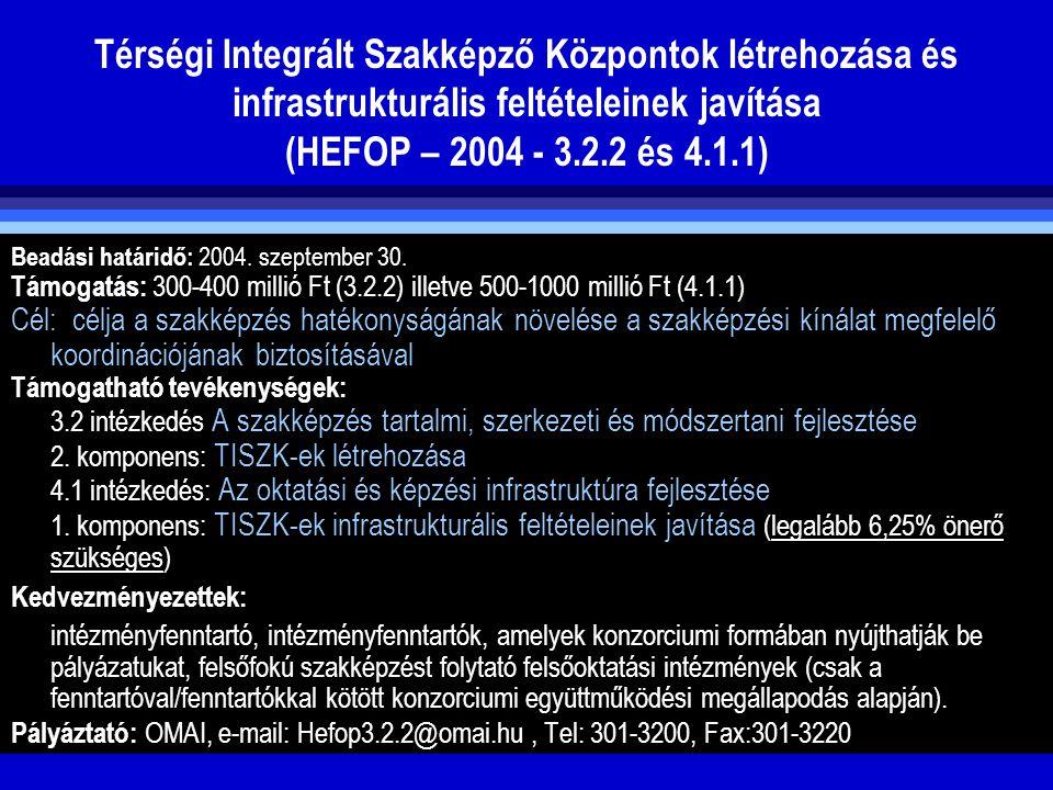 Térségi Integrált Szakképző Központok létrehozása és infrastrukturális feltételeinek javítása (HEFOP – 2004 - 3.2.2 és 4.1.1) Beadási határidő: 2004.