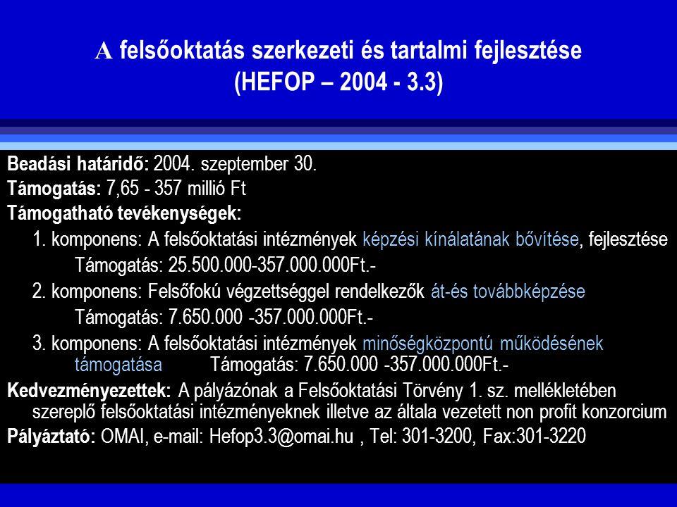 A felsőoktatás szerkezeti és tartalmi fejlesztése (HEFOP – 2004 - 3.3) Beadási határidő: 2004. szeptember 30. Támogatás: 7,65 - 357 millió Ft Támogath
