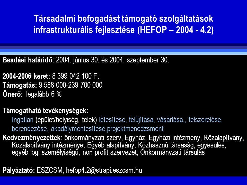 Társadalmi befogadást támogató szolgáltatások infrastrukturális fejlesztése (HEFOP – 2004 - 4.2) Beadási határidő: 2004. június 30. és 2004. szeptembe