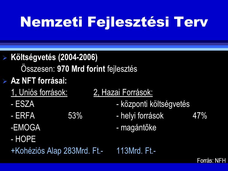 Nemzeti Fejlesztési Terv  Költségvetés (2004-2006) Összesen: 970 Mrd forint fejlesztés  Az NFT forrásai: 1, Uniós források:2, Hazai Források: - ESZA