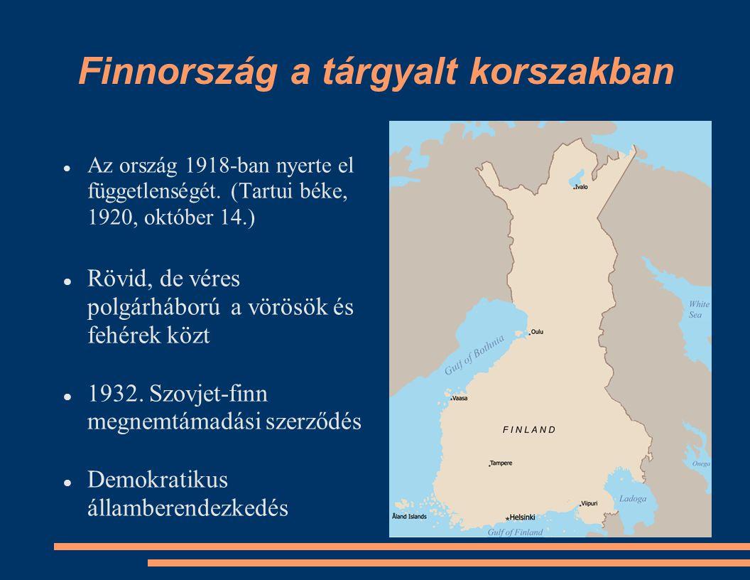 Finnország a tárgyalt korszakban Az ország 1918-ban nyerte el függetlenségét.
