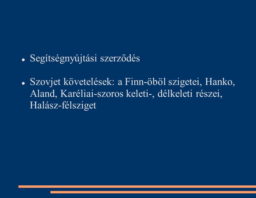 Segítségnyújtási szerződés Szovjet követelések: a Finn-öböl szigetei, Hanko, Aland, Karéliai-szoros keleti-, délkeleti részei, Halász-félsziget