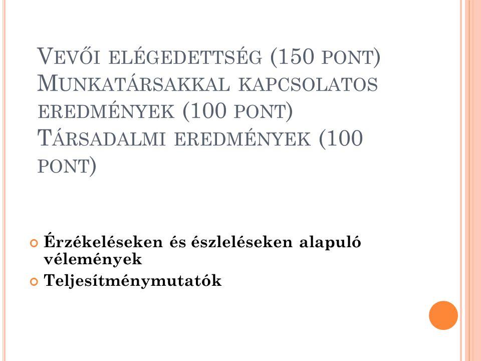 K ULCSEREDMÉNYEK (150 PONT ) 9.a Kulcsfontosságú stratégiai eredmények 9.b Kulcsfontosságú teljesítménymutatók