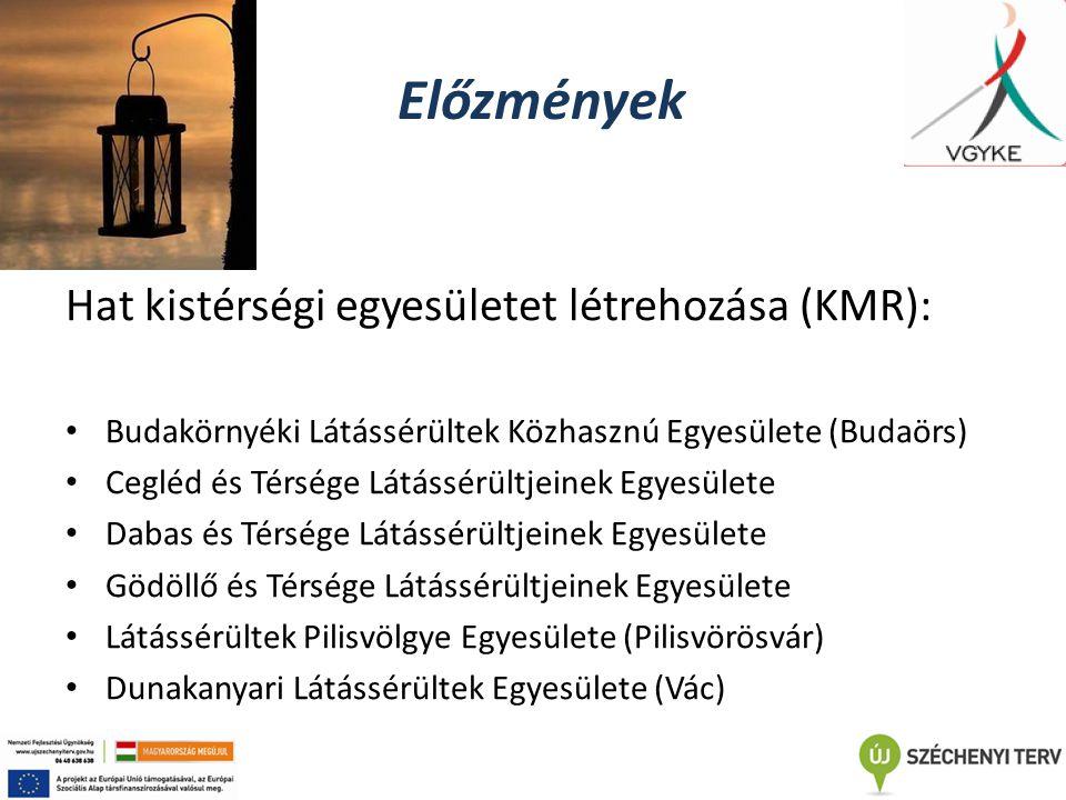 Előzmények Hat kistérségi egyesületet létrehozása (KMR): Budakörnyéki Látássérültek Közhasznú Egyesülete (Budaörs) Cegléd és Térsége Látássérültjeinek Egyesülete Dabas és Térsége Látássérültjeinek Egyesülete Gödöllő és Térsége Látássérültjeinek Egyesülete Látássérültek Pilisvölgye Egyesülete (Pilisvörösvár) Dunakanyari Látássérültek Egyesülete (Vác)
