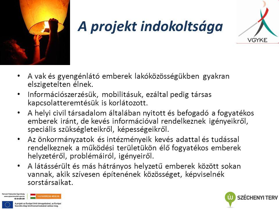 A projekt indokoltsága A vak és gyengénlátó emberek lakóközösségükben gyakran elszigetelten élnek. Információszerzésük, mobilitásuk, ezáltal pedig tár