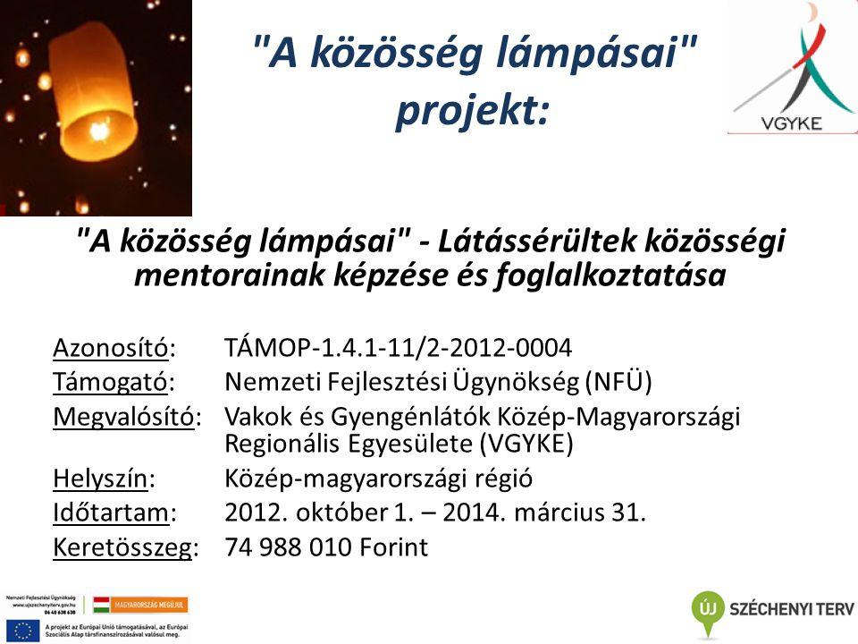 A közösség lámpásai projekt: A közösség lámpásai - Látássérültek közösségi mentorainak képzése és foglalkoztatása Azonosító: TÁMOP-1.4.1-11/2-2012-0004 Támogató: Nemzeti Fejlesztési Ügynökség (NFÜ) Megvalósító: Vakok és Gyengénlátók Közép-Magyarországi Regionális Egyesülete (VGYKE) Helyszín: Közép-magyarországi régió Időtartam: 2012.