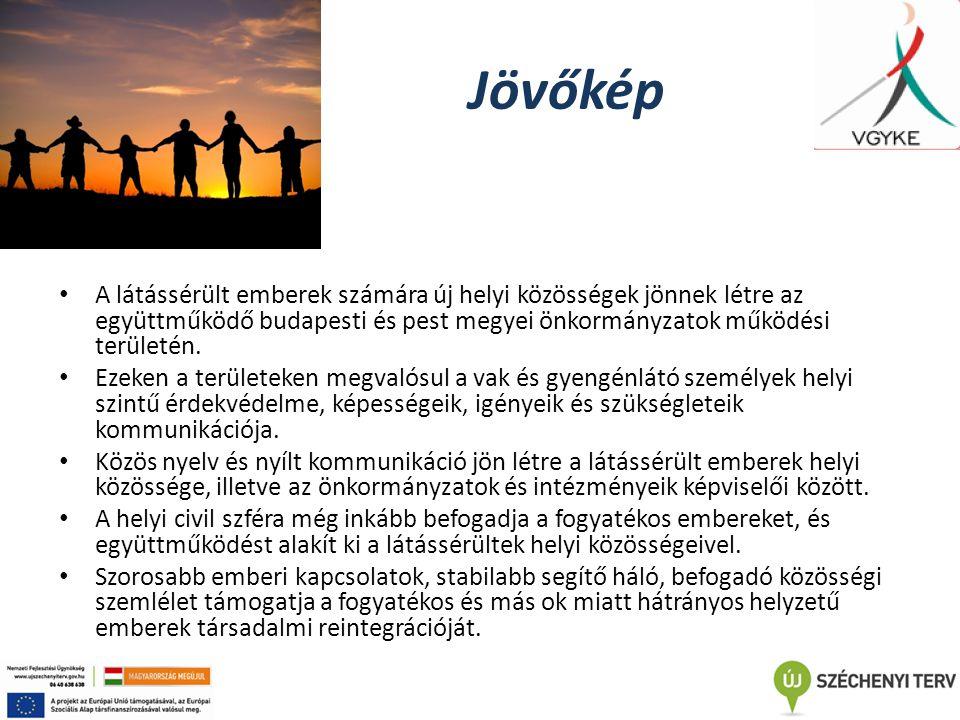 Jövőkép A látássérült emberek számára új helyi közösségek jönnek létre az együttműködő budapesti és pest megyei önkormányzatok működési területén. Eze