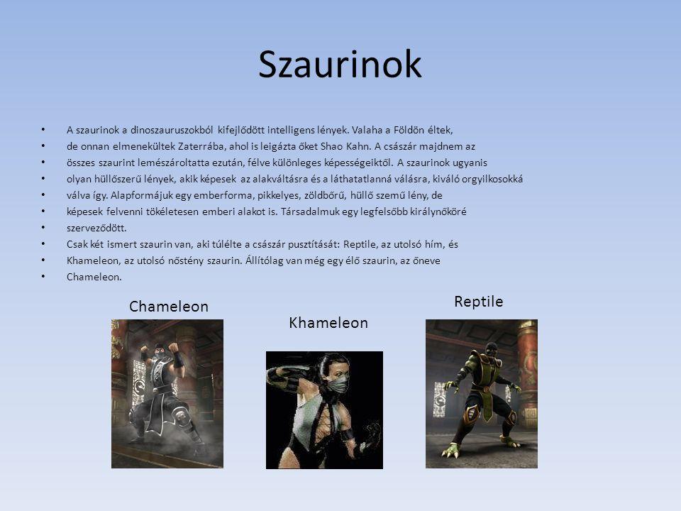 Szaurinok A szaurinok a dinoszauruszokból kifejlődött intelligens lények. Valaha a Földön éltek, de onnan elmenekültek Zaterrába, ahol is leigázta őke