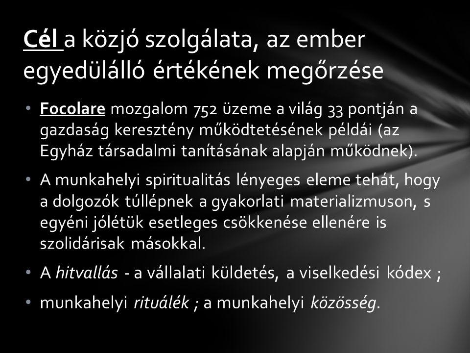Focolare mozgalom 752 üzeme a világ 33 pontján a gazdaság keresztény működtetésének példái (az Egyház társadalmi tanításának alapján működnek).