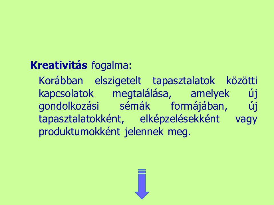 Kreativitás fogalma: Korábban elszigetelt tapasztalatok közötti kapcsolatok megtalálása, amelyek új gondolkozási sémák formájában, új tapasztalatokkén