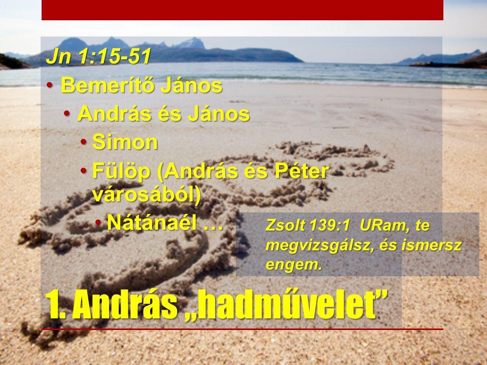"""1. András """"hadművelet"""" Jn 1:15-51 Bemerítő JánosBemerítő János András és JánosAndrás és János SimonSimon Fülöp (András és Péter városából)Fülöp (Andrá"""