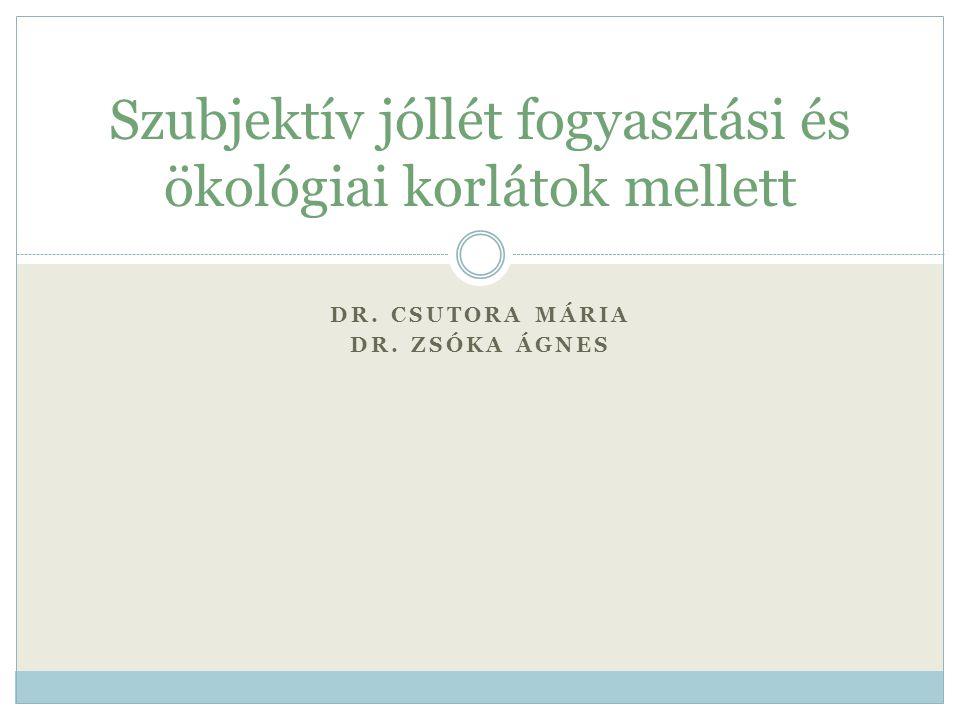 DR. CSUTORA MÁRIA DR. ZSÓKA ÁGNES Szubjektív jóllét fogyasztási és ökológiai korlátok mellett