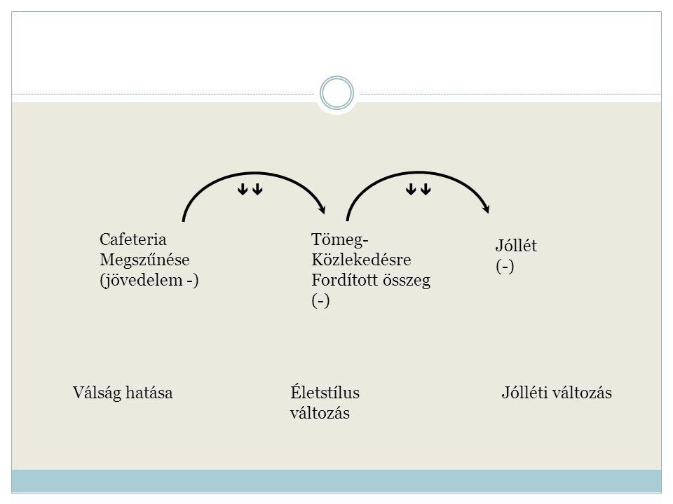 Válság hatásaÉletstílus változás Jólléti változás Cafeteria Megszűnése (jövedelem -) Tömeg- Közlekedésre Fordított összeg (-) Jóllét (-)     