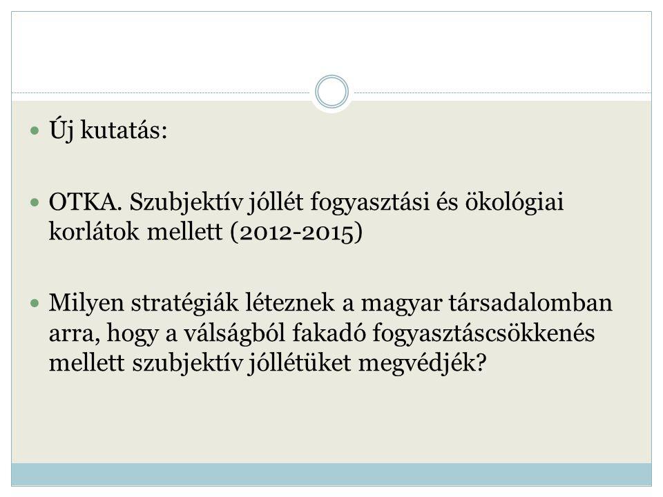 Új kutatás: OTKA. Szubjektív jóllét fogyasztási és ökológiai korlátok mellett (2012-2015) Milyen stratégiák léteznek a magyar társadalomban arra, hogy