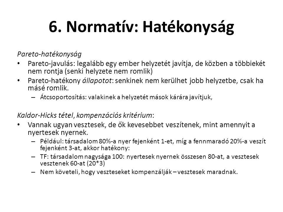 6. Normatív: Hatékonyság Pareto-hatékonyság Pareto-javulás: legalább egy ember helyzetét javítja, de közben a többiekét nem rontja (senki helyzete nem