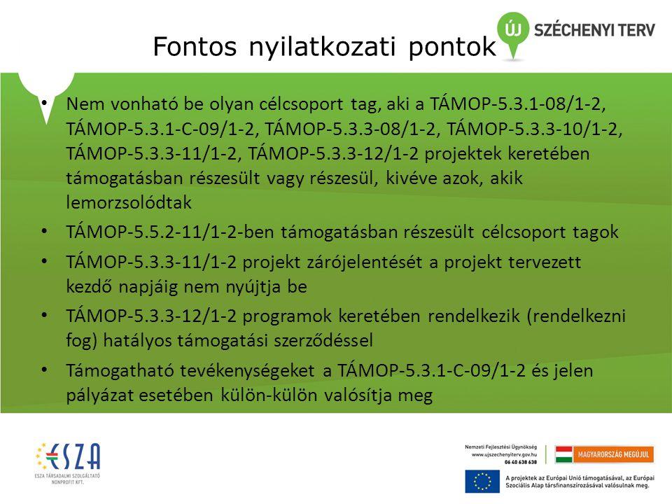 Fontos nyilatkozati pontok Nem vonható be olyan célcsoport tag, aki a TÁMOP-5.3.1-08/1-2, TÁMOP-5.3.1-C-09/1-2, TÁMOP-5.3.3-08/1-2, TÁMOP-5.3.3-10/1-2, TÁMOP-5.3.3-11/1-2, TÁMOP-5.3.3-12/1-2 projektek keretében támogatásban részesült vagy részesül, kivéve azok, akik lemorzsolódtak TÁMOP-5.5.2-11/1-2-ben támogatásban részesült célcsoport tagok TÁMOP-5.3.3-11/1-2 projekt zárójelentését a projekt tervezett kezdő napjáig nem nyújtja be TÁMOP-5.3.3-12/1-2 programok keretében rendelkezik (rendelkezni fog) hatályos támogatási szerződéssel Támogatható tevékenységeket a TÁMOP-5.3.1-C-09/1-2 és jelen pályázat esetében külön-külön valósítja meg