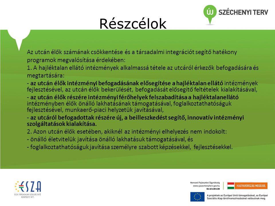 Részcélok Az utcán élők számának csökkentése és a társadalmi integrációt segítő hatékony programok megvalósítása érdekében: 1.