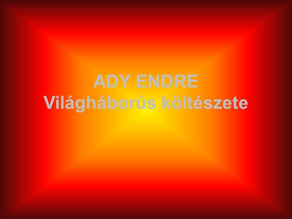 Ady Endre azon gondolkodók közé tartozott, akik az első pillanattól kezdve ellenezték a világháborút.