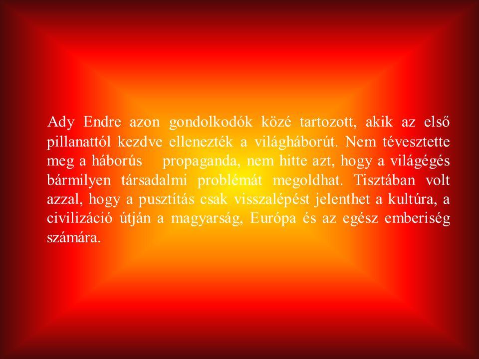 Ady Endre azon gondolkodók közé tartozott, akik az első pillanattól kezdve ellenezték a világháborút. Nem tévesztette meg a háborús propaganda, nem hi