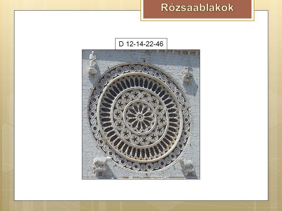 Nagybánya D3Székesfehérvár, Szt Anna kápolna D4 Jáki templom D8D8 – C8Vajdahunyad D10Chartres, Franciaország D12Bazilika S. Chiara D6-15-30D 12-14-22-