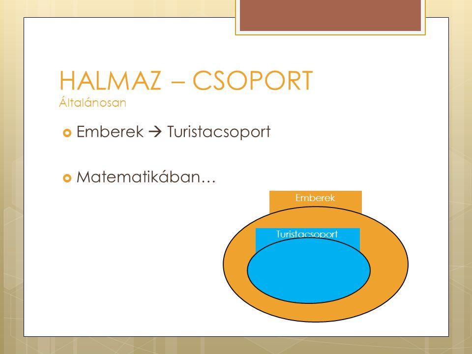 HALMAZ – CSOPORT Általánosan  Emberek  Turistacsoport  Matematikában… Emberek Turistacsoport