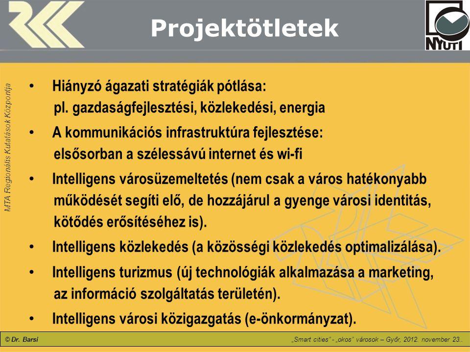 """MTA Regionális Kutatások Központja © Dr. Barsi""""Smart cities"""" - """"okos"""" városok – Győr, 2012. november 23.. Projektötletek Hiányzó ágazati stratégiák pó"""