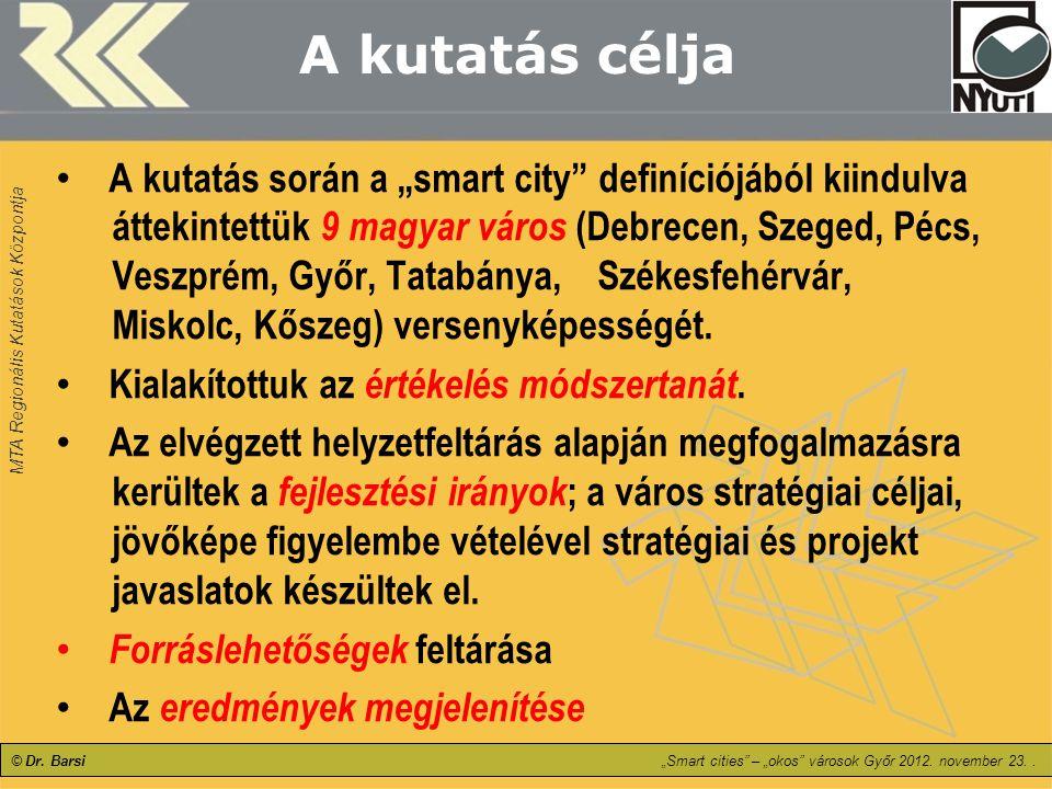 """MTA Regionális Kutatások Központja © Dr. Barsi""""Smart cities"""" – """"okos"""" városok Győr 2012. november 23.. A kutatás célja A kutatás során a """"smart city"""""""