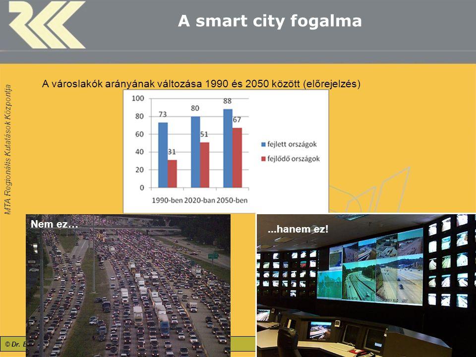 """MTA Regionális Kutatások Központja A smart city fogalma 4 A városlakók arányának változása 1990 és 2050 között (előrejelzés) """"Smart cities"""" – """"okos"""" v"""
