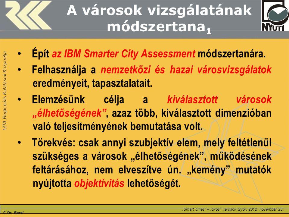 """MTA Regionális Kutatások Központja © Dr. Barsi """"Smart cities"""" – """"okos"""" városok Győr, 2012. november 23.. A városok vizsgálatának módszertana 1 Épít az"""