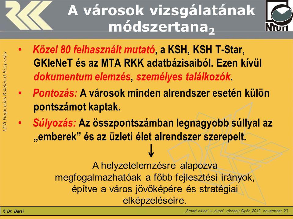 """MTA Regionális Kutatások Központja """"Smart cities"""" – """"okos"""" városok Győr, 2012. novermber 23. © Dr. Barsi A városok vizsgálatának módszertana 2 Közel 8"""