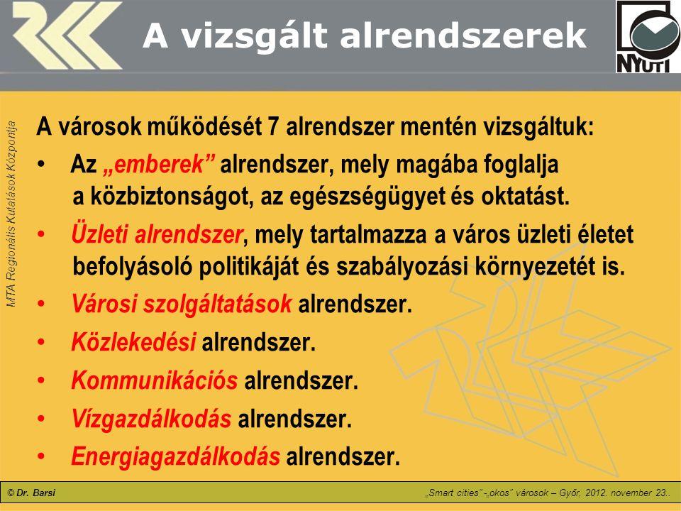 """MTA Regionális Kutatások Központja © Dr. Barsi""""Smart cities"""" -""""okos"""" városok – Győr, 2012. november 23.. A vizsgált alrendszerek A városok működését 7"""
