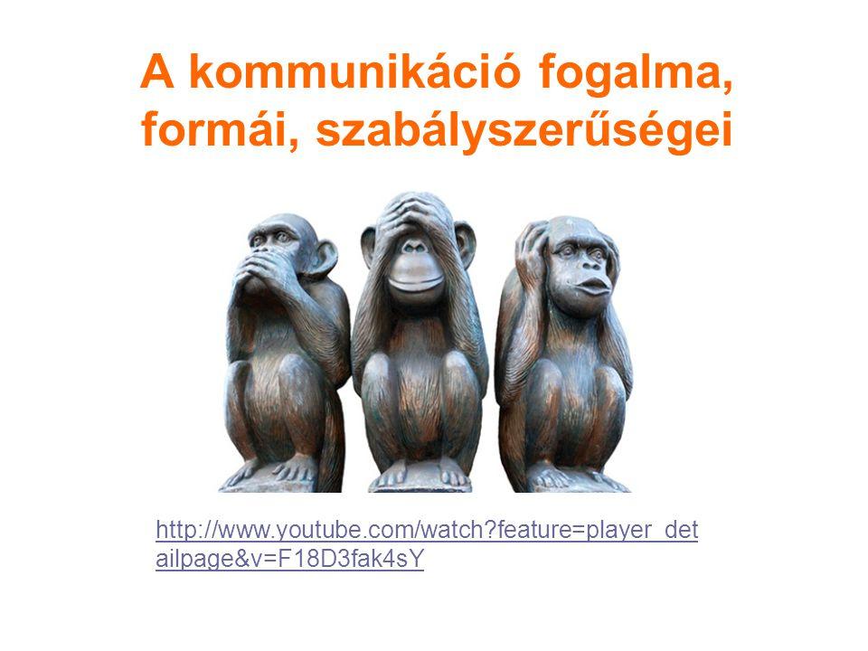 A kommunikáció fogalma, formái, szabályszerűségei http://www.youtube.com/watch?feature=player_det ailpage&v=F18D3fak4sY