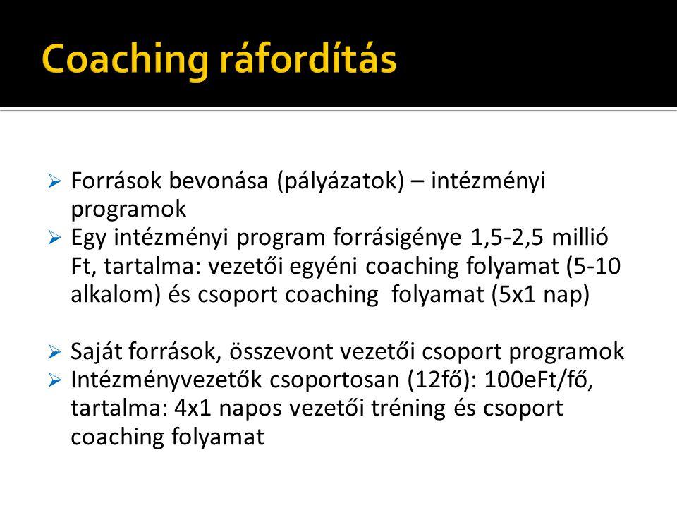  Források bevonása (pályázatok) – intézményi programok  Egy intézményi program forrásigénye 1,5-2,5 millió Ft, tartalma: vezetői egyéni coaching folyamat (5-10 alkalom) és csoport coaching folyamat (5x1 nap)  Saját források, összevont vezetői csoport programok  Intézményvezetők csoportosan (12fő): 100eFt/fő, tartalma: 4x1 napos vezetői tréning és csoport coaching folyamat