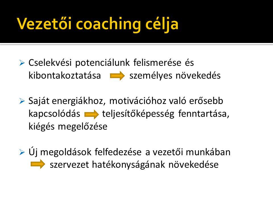 """ Az emberek természetüknél fogva kreatívak, erőforrásokkal rendelkeznek, képesek önállóan cselekedni  A coaching fókusza a teljes ember – az egyes témák összefüggnek az egész vezetői szereppel, az élettel  A coaching folyamata """"tánc a pillanatban – nem előre meghatározható a forgatókönyv  Változást indít el – új tapasztalatok által, amelyek új erőforrásokká válnak"""