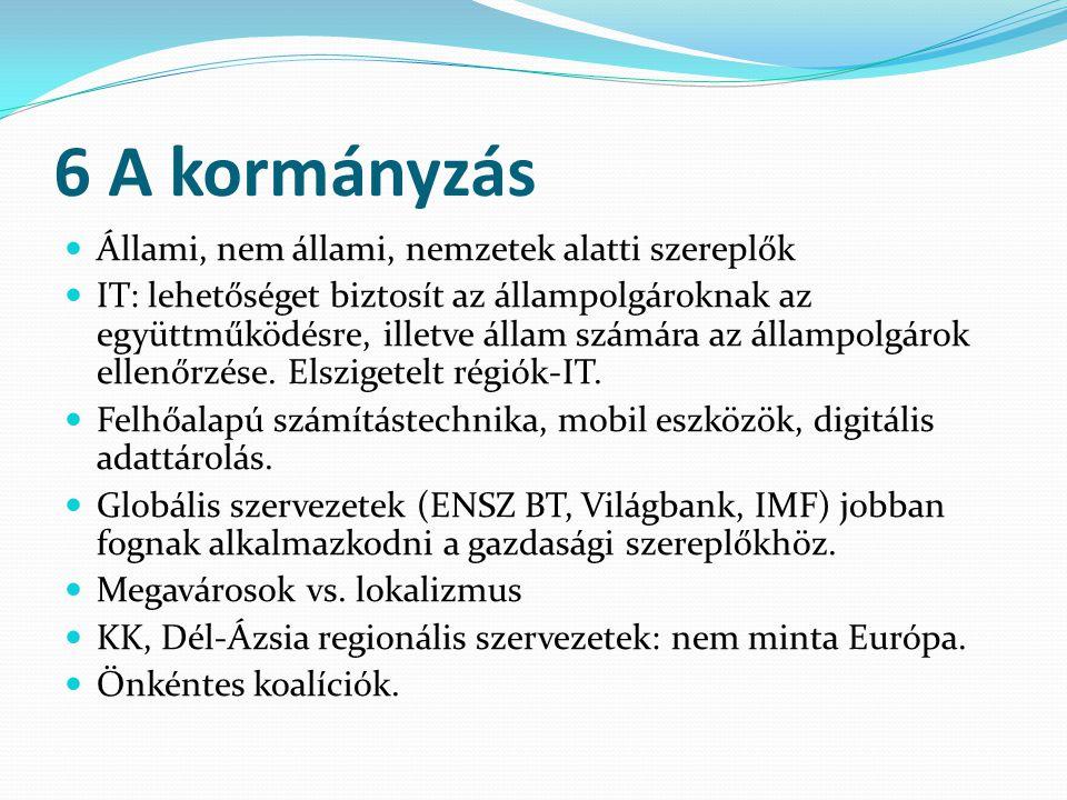 6 A kormányzás Állami, nem állami, nemzetek alatti szereplők IT: lehetőséget biztosít az állampolgároknak az együttműködésre, illetve állam számára az
