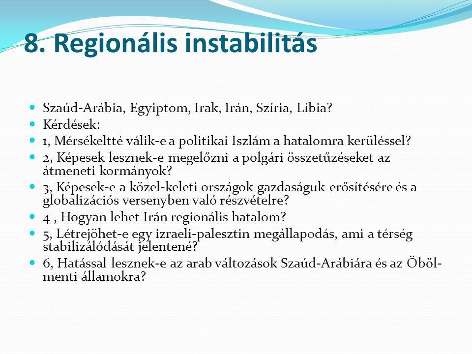 8. Regionális instabilitás Szaúd-Arábia, Egyiptom, Irak, Irán, Szíria, Líbia? Kérdések: 1, Mérsékeltté válik-e a politikai Iszlám a hatalomra kerüléss