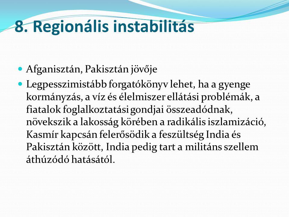 8. Regionális instabilitás Afganisztán, Pakisztán jövője Legpesszimistább forgatókönyv lehet, ha a gyenge kormányzás, a víz és élelmiszer ellátási pro