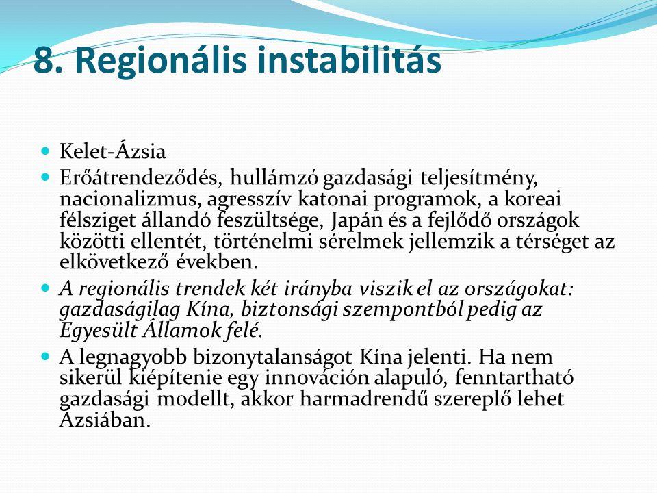 8. Regionális instabilitás Kelet-Ázsia Erőátrendeződés, hullámzó gazdasági teljesítmény, nacionalizmus, agresszív katonai programok, a koreai félszige
