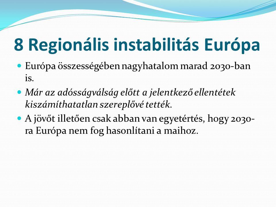 8 Regionális instabilitás Európa Európa összességében nagyhatalom marad 2030-ban is. Már az adósságválság előtt a jelentkező ellentétek kiszámíthatatl