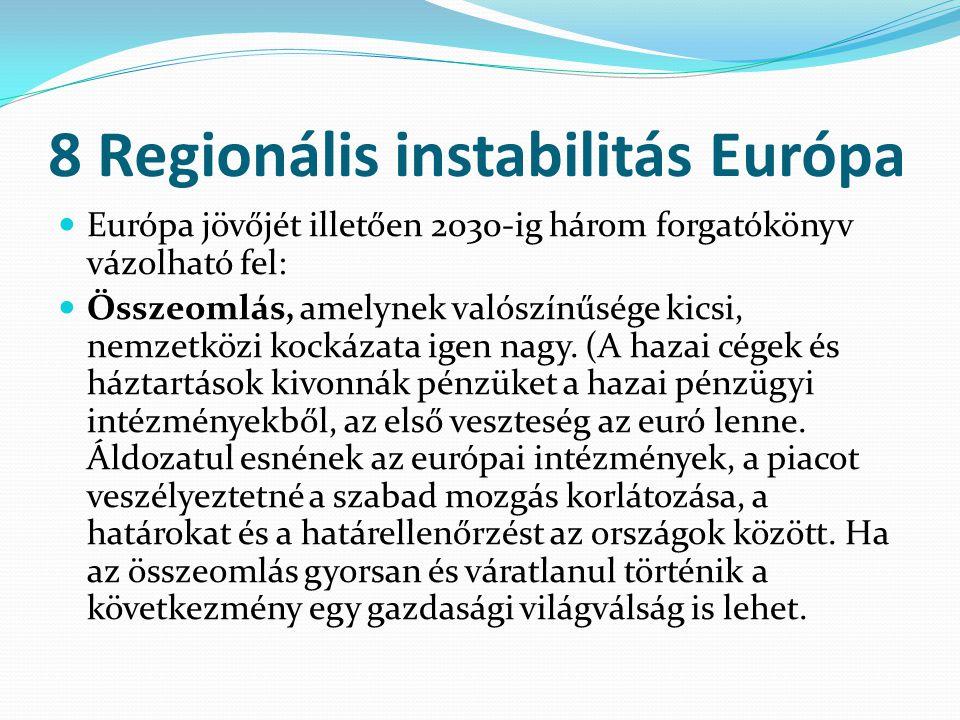 8 Regionális instabilitás Európa Európa jövőjét illetően 2030-ig három forgatókönyv vázolható fel: Összeomlás, amelynek valószínűsége kicsi, nemzetköz