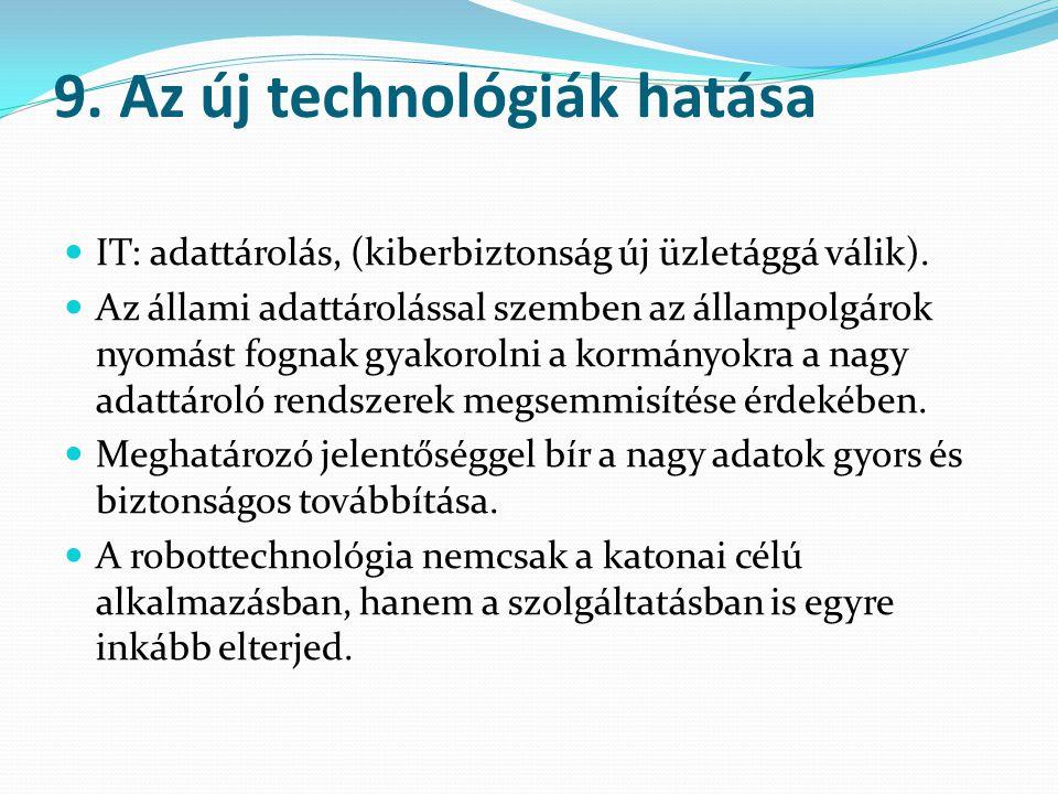 9. Az új technológiák hatása IT: adattárolás, (kiberbiztonság új üzletággá válik). Az állami adattárolással szemben az állampolgárok nyomást fognak gy