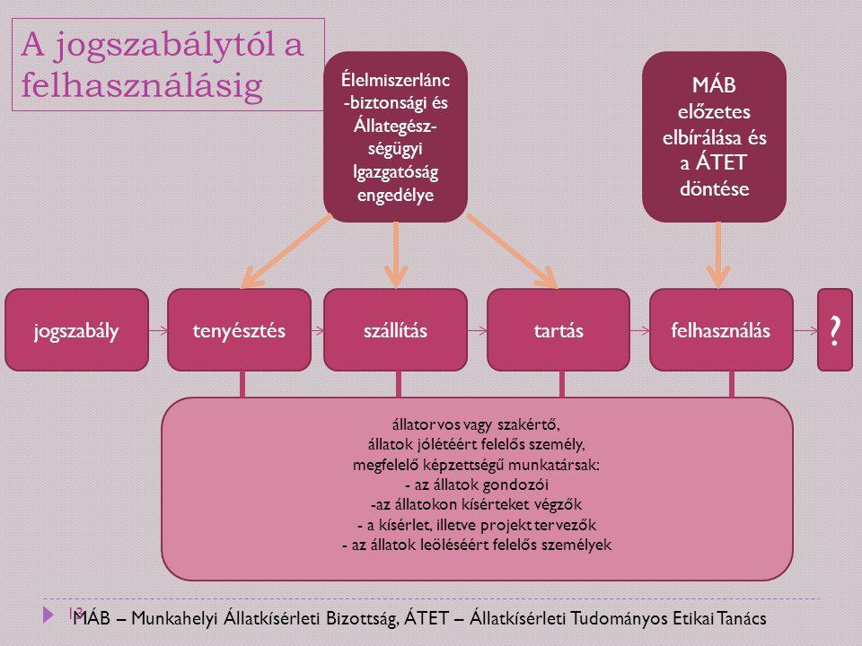 MÁB – Munkahelyi Állatkísérleti Bizottság, ÁTET – Állatkísérleti Tudományos Etikai Tanács A jogszabálytól a felhasználásig jogszabálytenyésztésszállít
