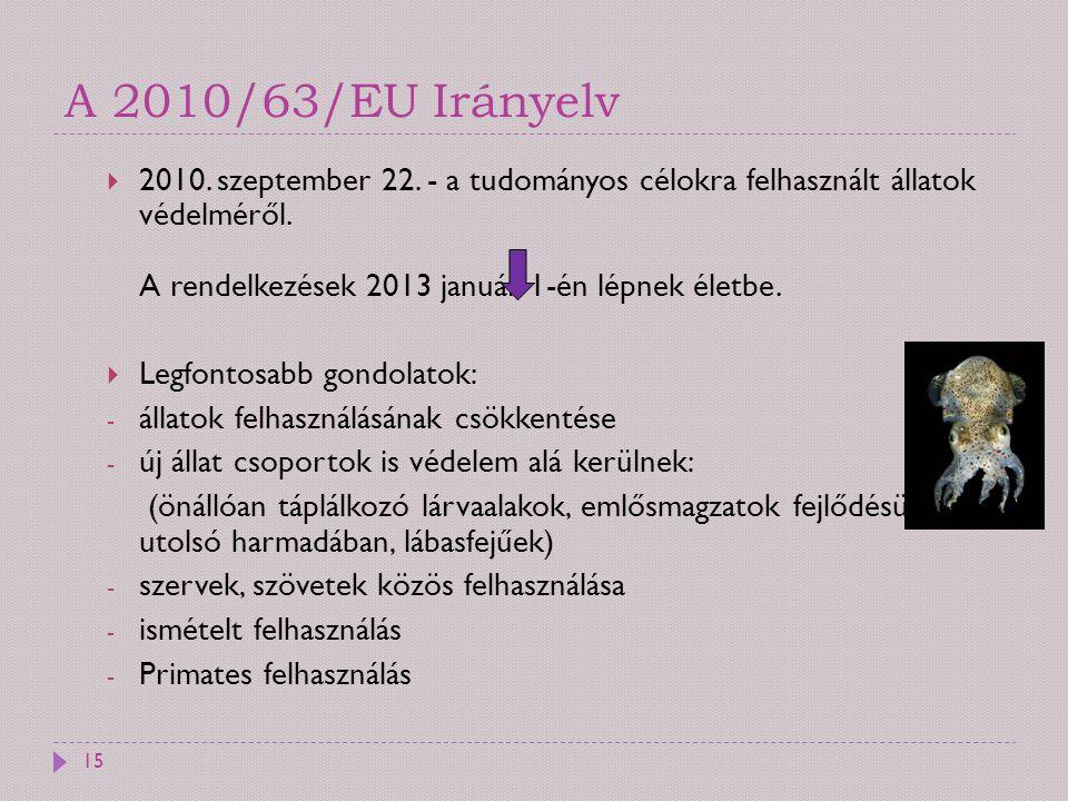 A 2010/63/EU Irányelv  2010. szeptember 22. - a tudományos célokra felhasznált állatok védelméről. A rendelkezések 2013 január 1-én lépnek életbe. 