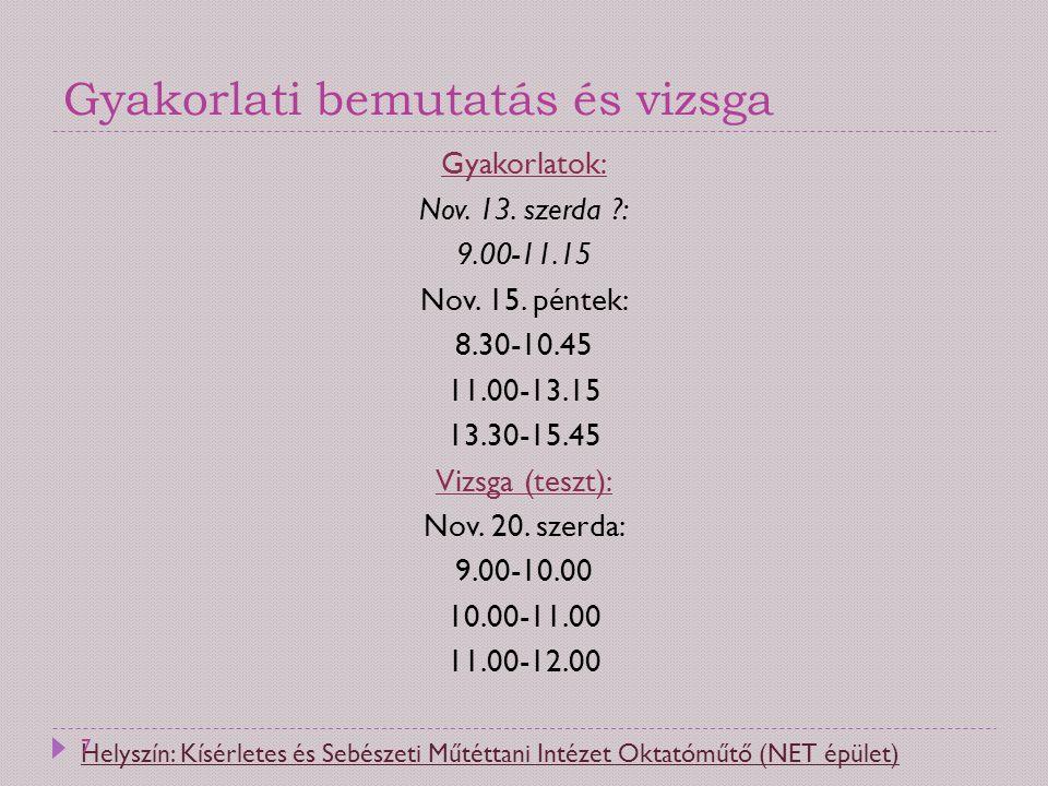 Gyakorlati bemutatás és vizsga Gyakorlatok: Nov. 13. szerda ?: 9.00-11.15 Nov. 15. péntek: 8.30-10.45 11.00-13.15 13.30-15.45 Vizsga (teszt): Nov. 20.