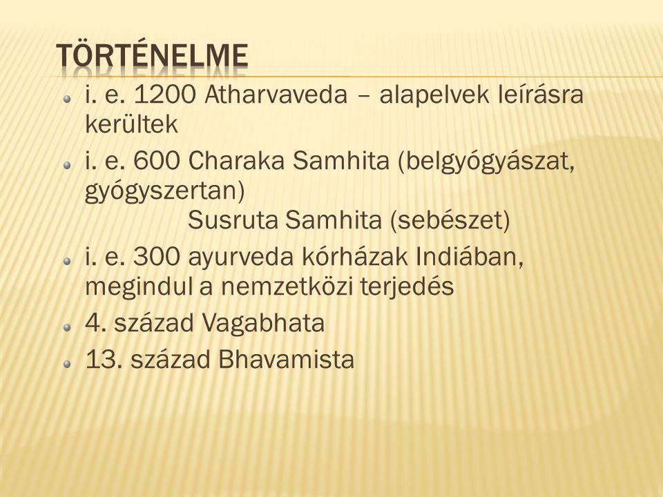 i. e. 1200 Atharvaveda – alapelvek leírásra kerültek i. e. 600 Charaka Samhita (belgyógyászat, gyógyszertan) Susruta Samhita (sebészet) i. e. 300 ayur